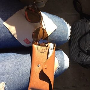 Gold and Brown RayBan sunglasses
